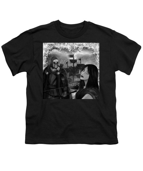 Now Or Never - Black And White Fantasy Art Youth T-Shirt