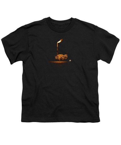 Oil Rig At Night Youth T-Shirt