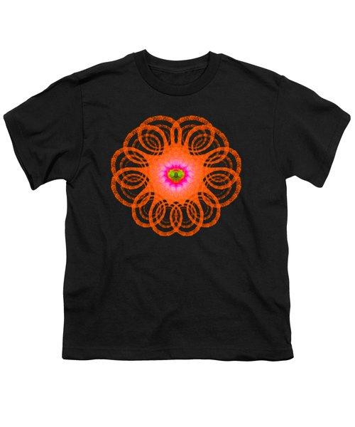 Orange Fractal Art Mandala Style Youth T-Shirt by Matthias Hauser