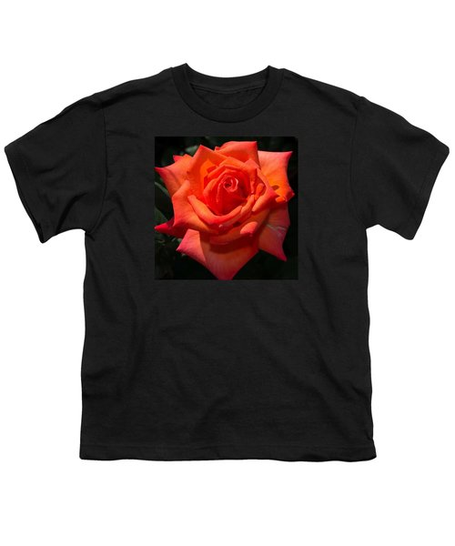 Orange Tropicana Rose  Youth T-Shirt by Michael Moriarty