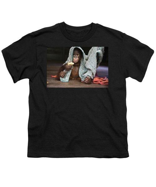 Orangutan 2yr Old Infant Holding Banana Youth T-Shirt by Suzi Eszterhas