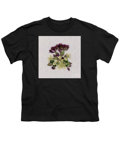 Oregano Florets And Leaves Pressed Flower Design Youth T-Shirt