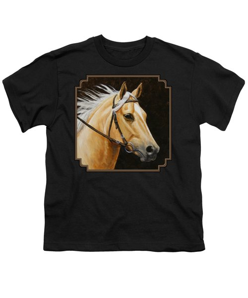 Palomino Horse Portrait Youth T-Shirt by Crista Forest
