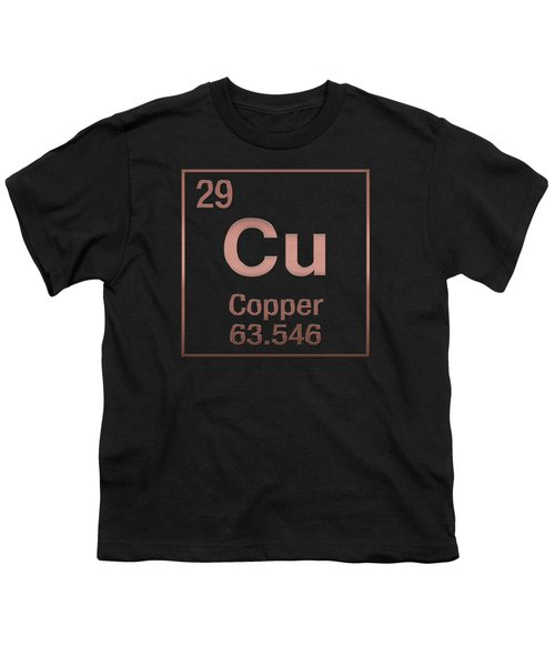 Periodic Table Of Elements - Copper - Cu - Copper On Black Youth T-Shirt