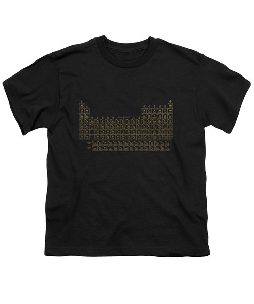 Periodic Table Of Elements - Gold On Black Metal Youth T-Shirt