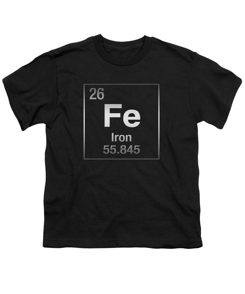 Periodic Table Of Elements - Iron - Fe On Black Canvas Youth T-Shirt