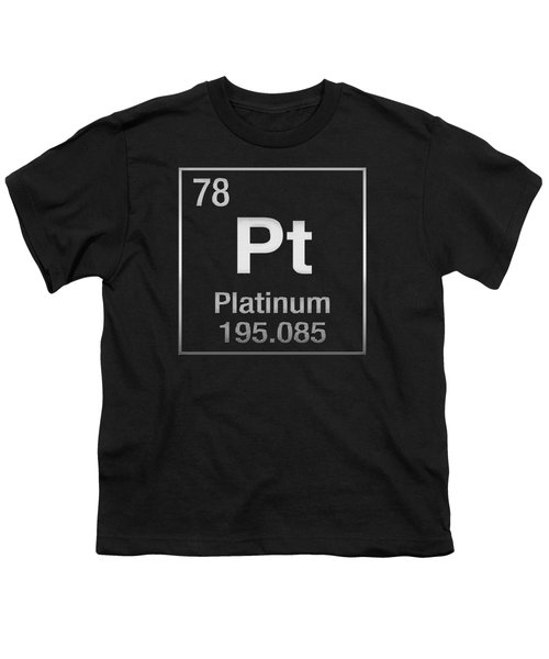 Periodic Table Of Elements - Platinum - Pt - Platinum On Black Youth T-Shirt