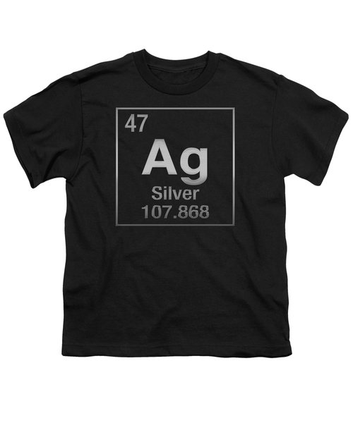 Periodic Table Of Elements - Silver - Ag - Silver On Black Youth T-Shirt