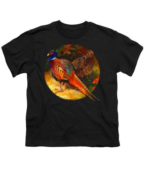 Pheasant Pair Youth T-Shirt by Raven SiJohn