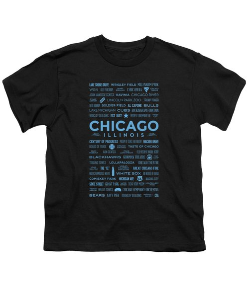 Places Of Chicago Blue On Black Youth T-Shirt