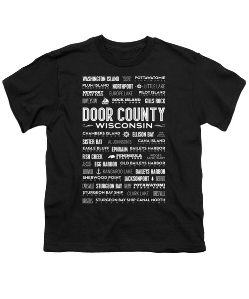 Places Of Door County On Black Youth T-Shirt by Christopher Arndt