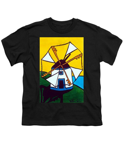 Youth T-Shirt featuring the painting Portuguese Singing Windmill By Dora Hathazi Mendes by Dora Hathazi Mendes