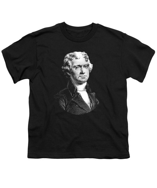 President Thomas Jefferson - Black And White Youth T-Shirt