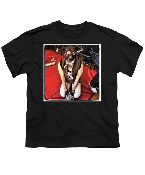 Youth T-Shirt featuring the photograph Puppy Play. Human Canine Training by Mr Photojimsf