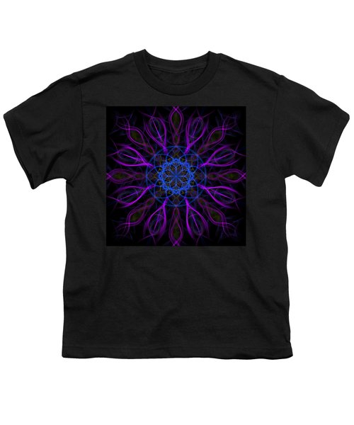 Youth T-Shirt featuring the photograph Purple Blue Kaleidoscope Square by Adam Romanowicz