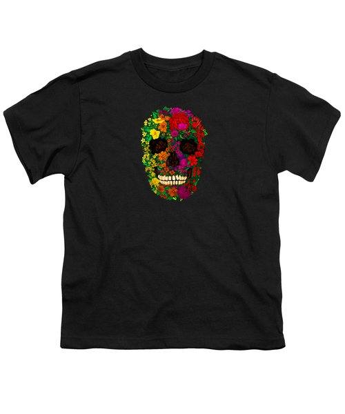 Rainbow Flowers Sugar Skull Youth T-Shirt by Three Second
