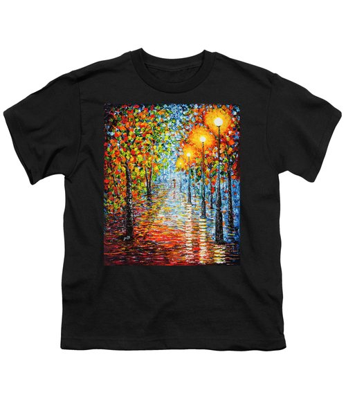 Youth T-Shirt featuring the painting Rainy Autumn Evening In The Park Acrylic Palette Knife Painting by Georgeta Blanaru