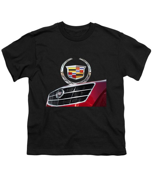 Red Cadillac C T S - Front Grill Ornament And 3d Badge On Black Youth T-Shirt by Serge Averbukh