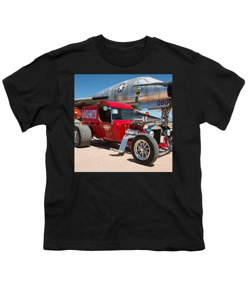 Red Hot Rod Next To Vintage Airplane  Youth T-Shirt