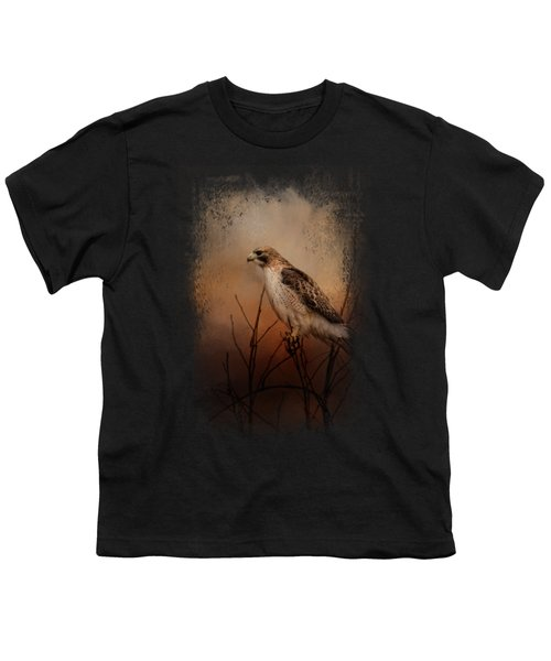 Red Tail In Wait Youth T-Shirt by Jai Johnson