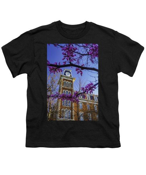 Redbud At Old Main Youth T-Shirt by Damon Shaw