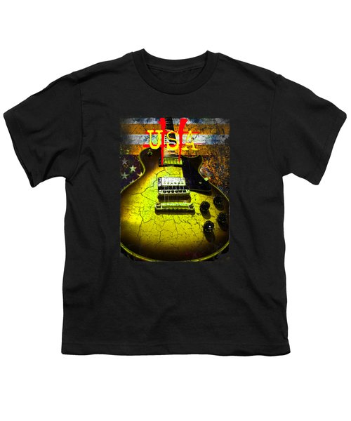 Youth T-Shirt featuring the photograph Relic Guitar Music Patriotic Usa Flag by Guitar Wacky