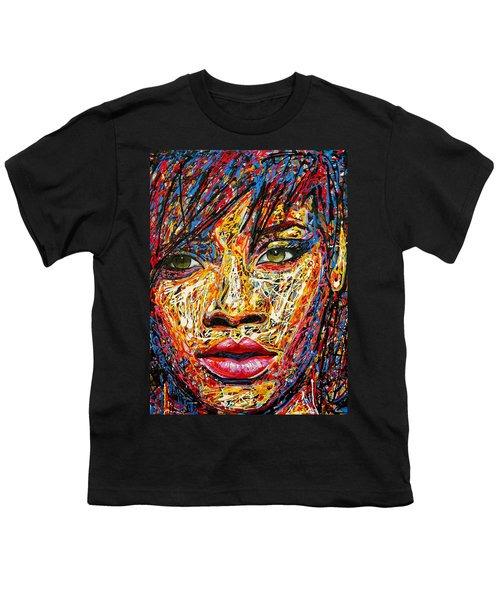 Rihanna Youth T-Shirt by Angie Wright