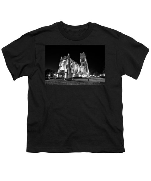 Rockefeller Chapel - B And W Youth T-Shirt by CJ Schmit