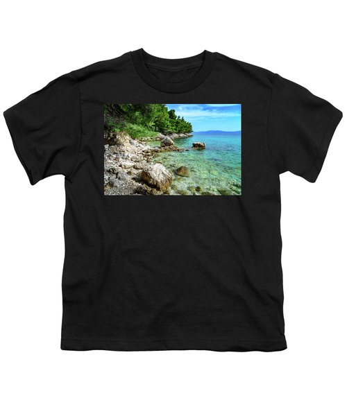 Rocky Beach On The Dalmatian Coast, Dalmatia, Croatia Youth T-Shirt