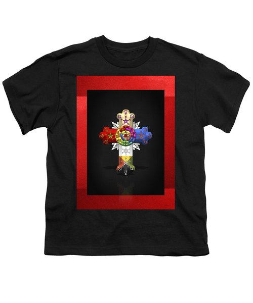 Rosy Cross - Rose Croix  Youth T-Shirt by Serge Averbukh