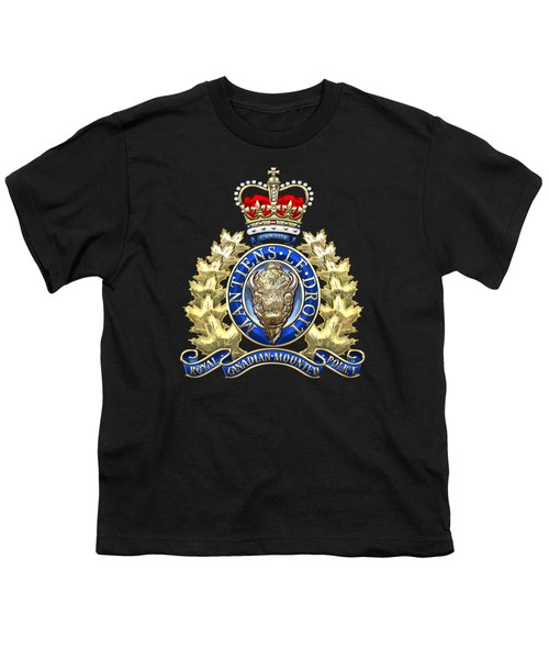Royal Canadian Mounted Police - Rcmp Badge On Black Leather Youth T-Shirt by Serge Averbukh