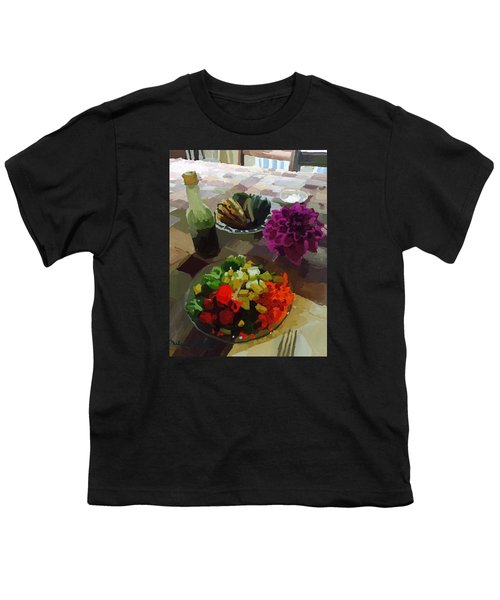 Salad And Dressing With Squash And Dahlia Youth T-Shirt by Melissa Abbott