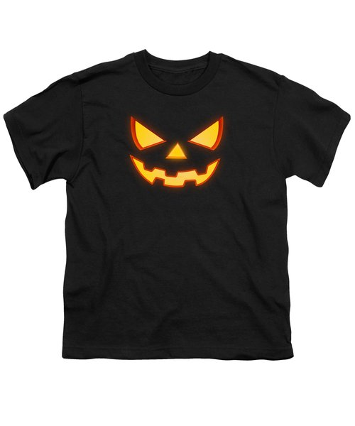 Scary Halloween Horror Pumpkin Face Youth T-Shirt by Philipp Rietz