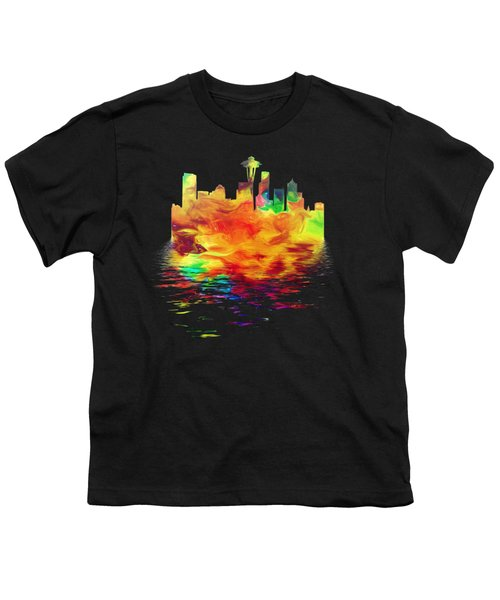 Seattle Skyline, Orange Tones On Black Youth T-Shirt by Pamela Saville