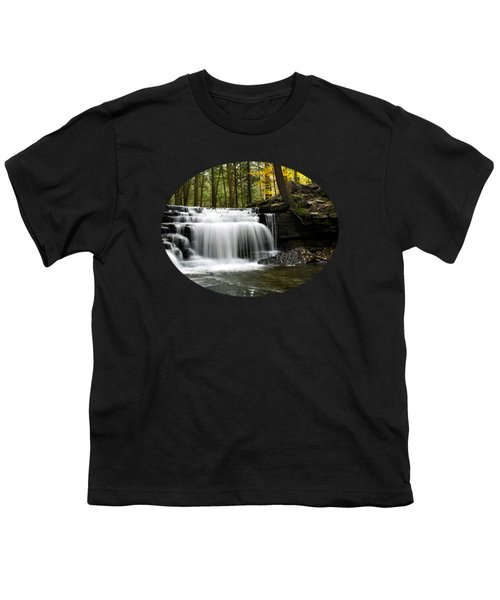 Serenity Waterfalls Landscape Youth T-Shirt by Christina Rollo