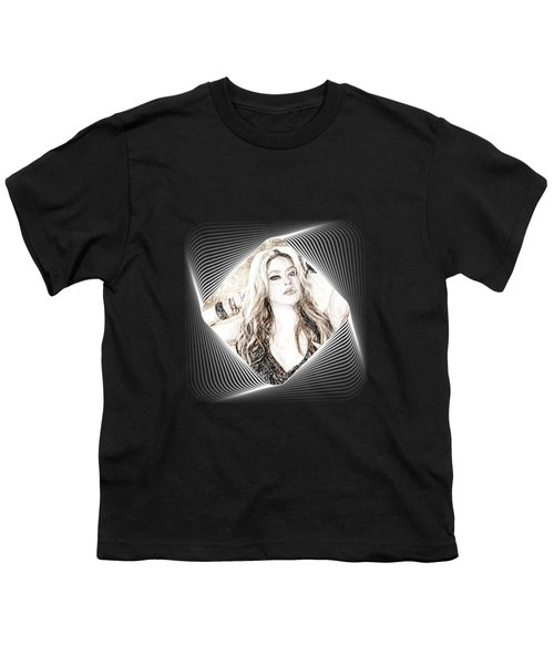 Shakira - Pencil Art Youth T-Shirt by Raina Shah