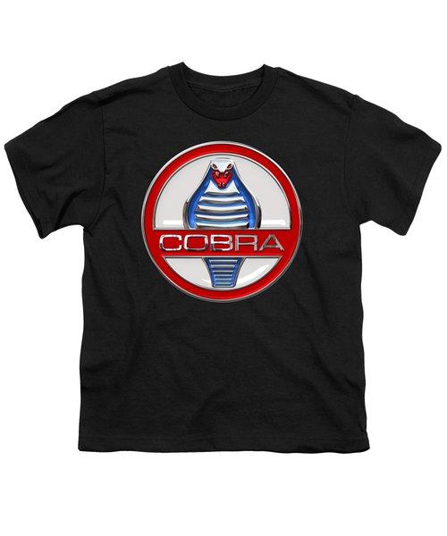 Shelby Ac Cobra - Original 3d Badge On Black Youth T-Shirt