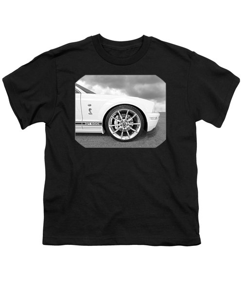 Shelby Gt500 Wheel Black And White Youth T-Shirt by Gill Billington