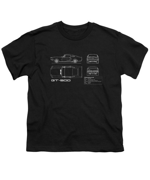 Shelby Mustang Gt500 Blueprint Youth T-Shirt