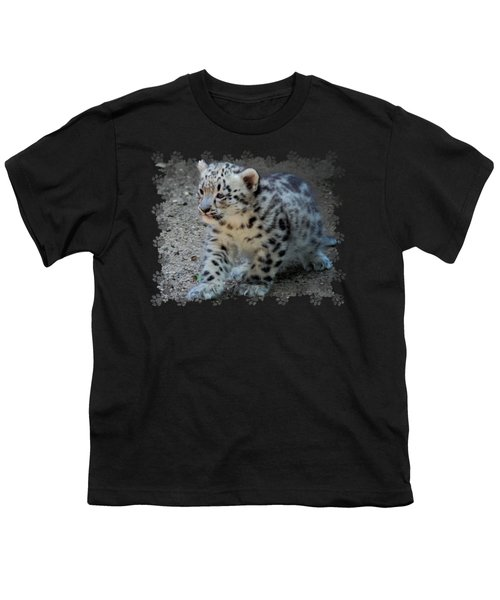 Snow Leopard Cub Paws Border Youth T-Shirt