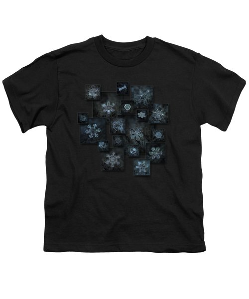 Snowflake Collage - Dark Crystals 2012-2014 Youth T-Shirt by Alexey Kljatov