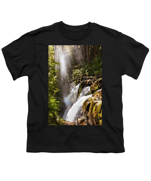 Youth T-Shirt featuring the photograph Sol Duc Falls by Adam Romanowicz