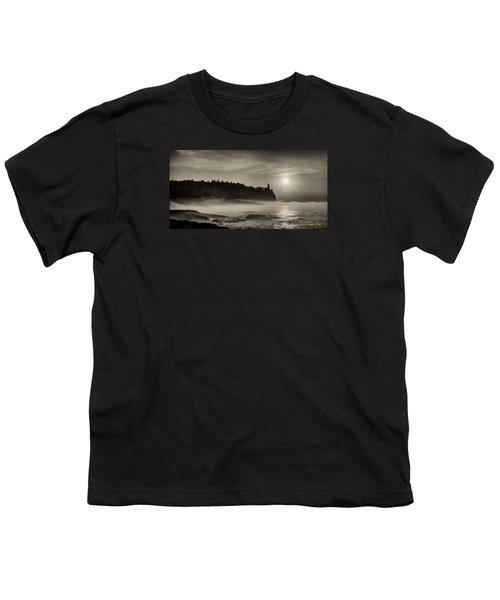 Youth T-Shirt featuring the photograph Split Rock Lighthouse Emerging Fog by Rikk Flohr