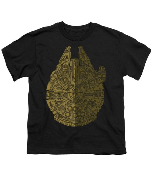 Star Wars Art - Millennium Falcon - Black, Brown Youth T-Shirt by Studio Grafiikka
