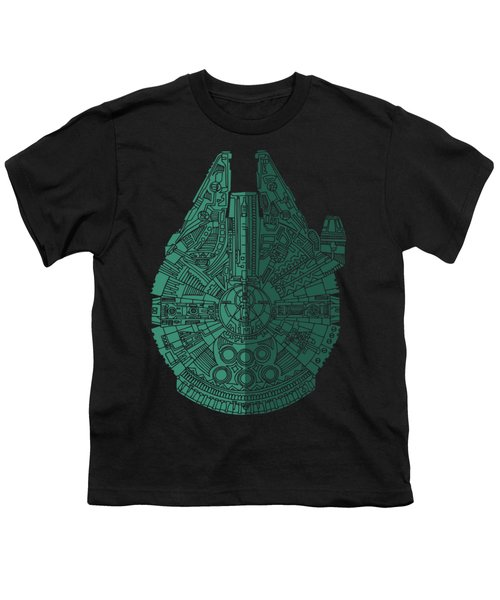Star Wars Art - Millennium Falcon - Blue Green Youth T-Shirt by Studio Grafiikka