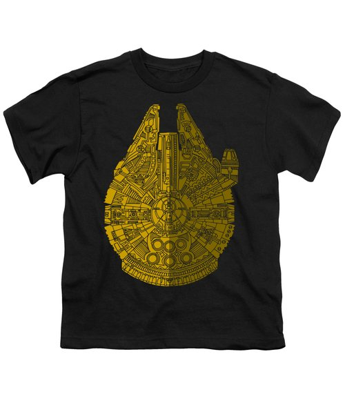 Star Wars Art - Millennium Falcon - Brown Youth T-Shirt by Studio Grafiikka