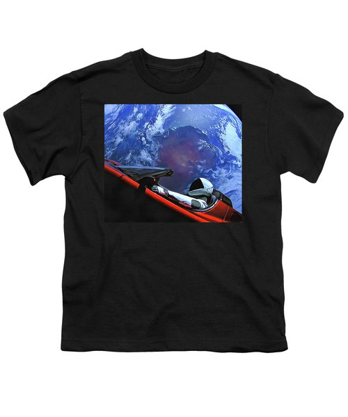 Starman In Tesla With Planet Earth Youth T-Shirt