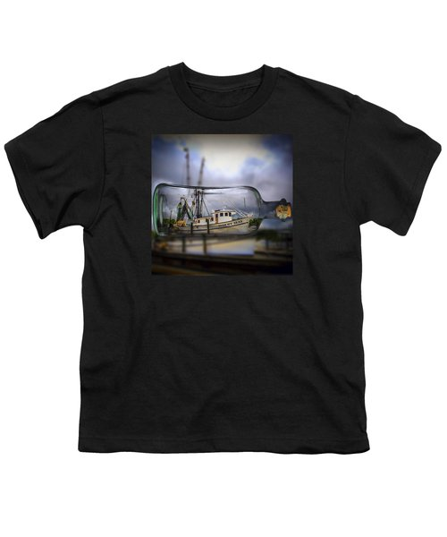 Stormy Seas - Ship In A Bottle Youth T-Shirt by Bill Barber