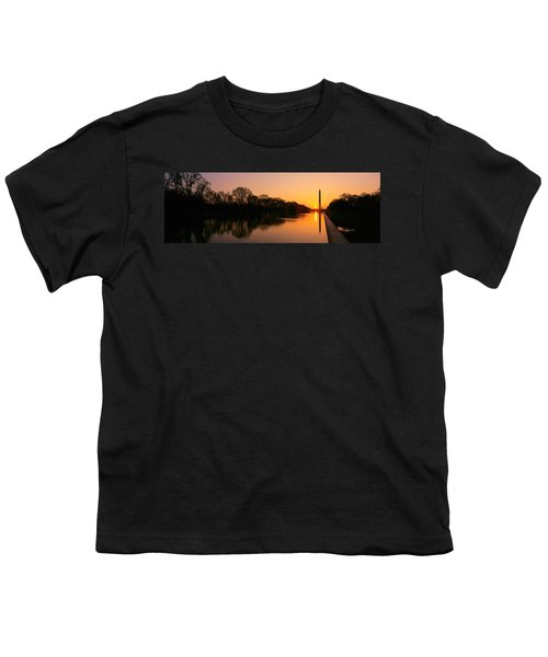 Sunset On The Washington Monument & Youth T-Shirt by Panoramic Images
