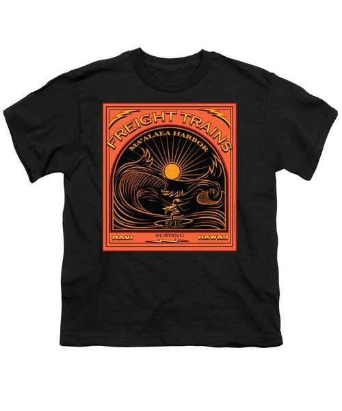 Surfer Freight Trains Maui Hawaii Youth T-Shirt by Larry Butterworth